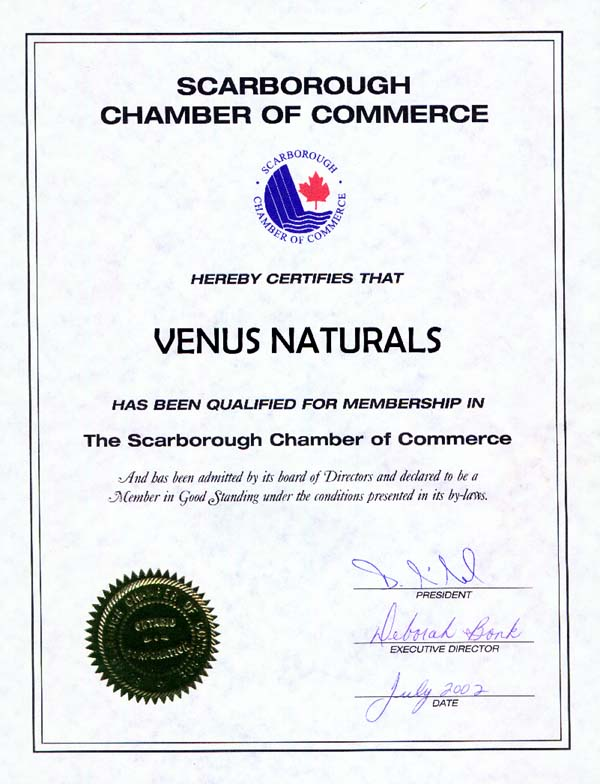 Scarborough Chamber of Commerce Membership Certificate
